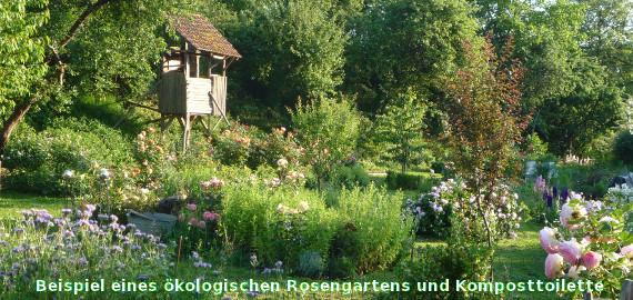 Beispiel eines ökologischen Rosengartens und Komposttoilette